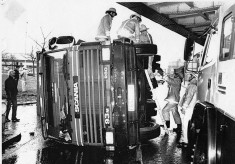 Lorry Overturned Under Darwen Street Bridge