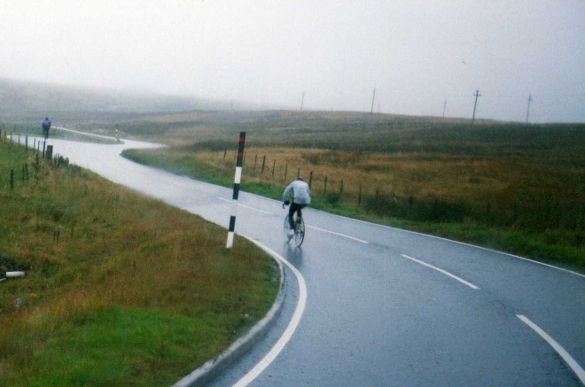 a bloomin big hill in that kind of rain that gets you wet